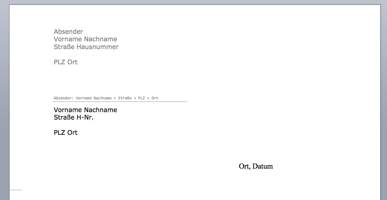 Frisch Private Briefvorlage Word Briefprobe 1