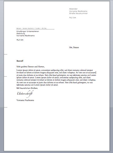 47 By Formatvorlage Brief Word Resume Format