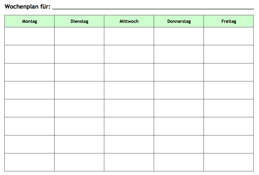 Wochenplan-Vorlage für Werktage