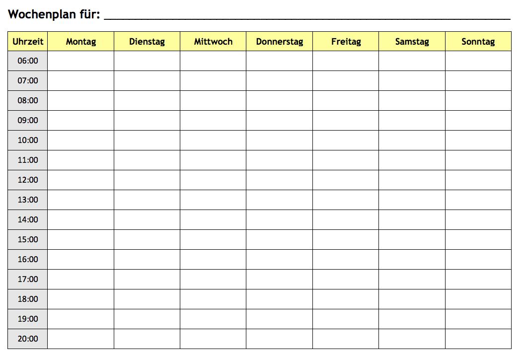 Wochenplan-Vorlage mit Uhrzeit (7 Tage)